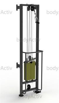 ТРБ2500-П-1-100 Тренажер блочный реабилитационный пристенный (аналог МТБ) стек 100 кг высота 2500 мм - фото 21141