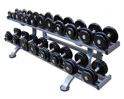 Обрезиненный гантельный ряд  от 8,5 до 56 кг с шагом 2,5 кг - фото 29398