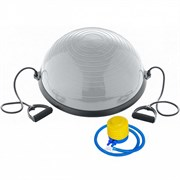 BOSU055-22 Полусфера BOSU гимнастическая, 58см., (серый) в комплекте с эспандером и насосом (B31663)