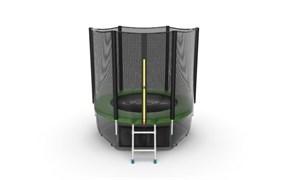 EVO JUMP External 6ft Green + Lower net Батут с внешней сеткой и лестницей диаметр 6ft зеленый + нижняя сеть