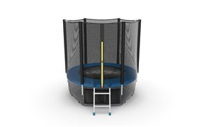 EVO JUMP External 6ft Blue + Lower net Батут с внешней сеткой и лестницей диаметр 6ft синий + нижняя сеть
