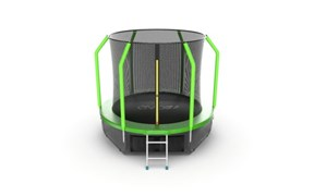 EVO JUMP Cosmo 8ft Green + Lower net Батут с внутренней сеткой и лестницей диаметр 8ft зеленый + нижняя сеть